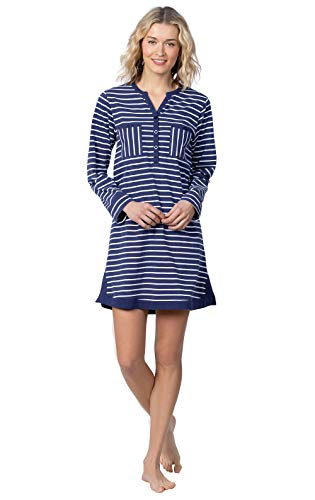 Addison Meadow Womens Sleep Shirt Cotton Nightgowns for Women Navy Stripe XL 16