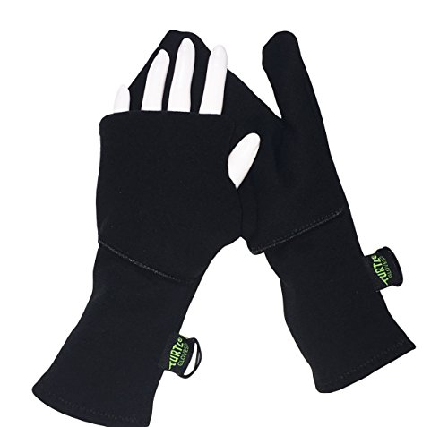 Turtle Gloves Midweight Convertible Hardface Running Mittens for Winter Size- L/XL