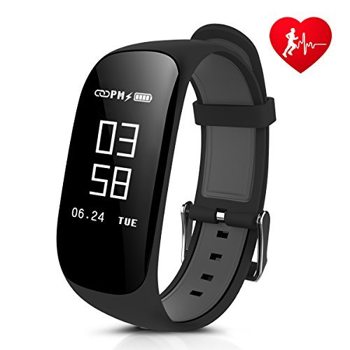 Fitness Tracker, CAMTOA Z17 Activity Wristbands with Heart Rate Monitor: IP67 0.96''OLED Sports Bracelet Sleep Monitoring / GPS Track/ Camera Control/ Screen Brightness Adjustment for Android and - Helper Camera