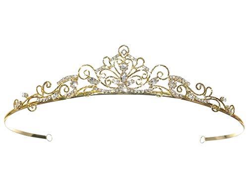 Wire Scroll Bridal Princess Crystal Wedding Tiara - Gold Plated T1179