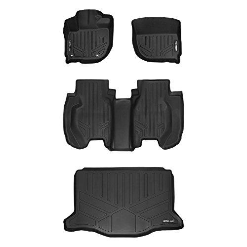 Honda Fit Floor - SMARTLINER Floor Mats 2 Rows and Cargo Liner Set Black for 2015-2019 Honda Fit