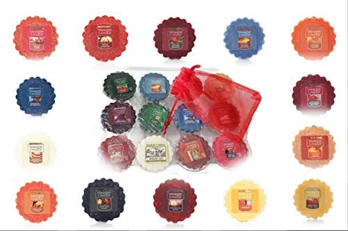 Yankee Candle Fall Wax Tarts Melts 12 Assorted in Storage Container Gift Box Plus Bonus Organza Sachet Bag - Autumn Christmas Bundle