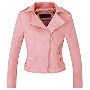 chouyatou Women's Fashion Faux Suede-Pu Leather Quilted Biker Jacket