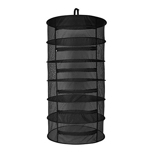 Dry Garden Herbs - OPULENT SYSTEMS 2ft 6 Layer Herb Collapsible Drying Rack W/Zipper Black Mesh Trays Dry Net Hanging for Hydroponics