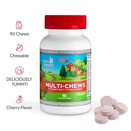 Kids Multi-Chews Complete Daily Children s Multivitamin Mineral with Iron – 180 Wafers – Certified Kosher – Natural – Gluten Free