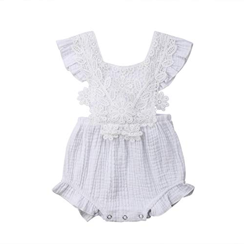 Newborn Baby Girl Daisy Lace Floral Ruffle Romper Bodysuit Sleeeless Square Collar Summer Outfits (White, 12-18m)
