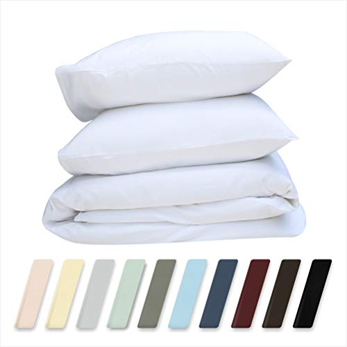 Best Hotel Luxury Bedding 3-Piece Full/Queen Pure White Duvet Cover Set Only $37