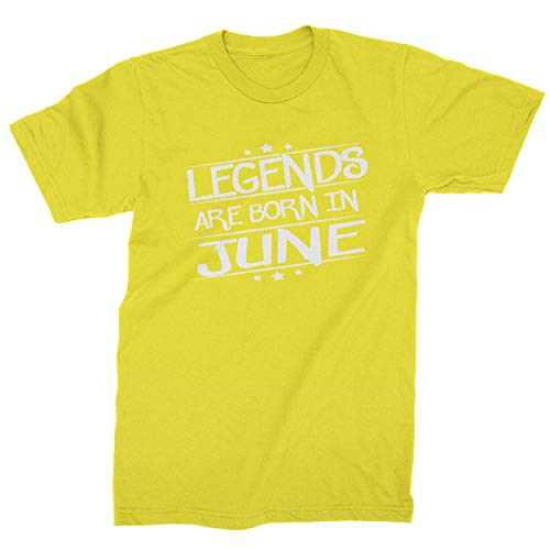 Legends Are Born Mens in June T-Shirt Large Yellow