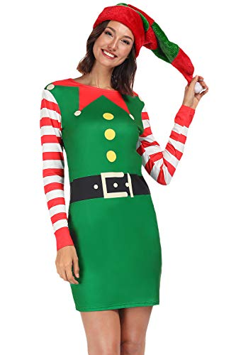 For G and PL Women Christmas Printed Bodycon Longsleeve Custome Green Dress Elf -