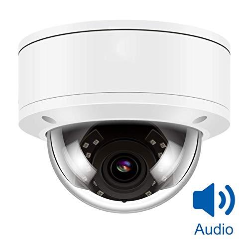 (Hikvision Compatiable) 5MP H.265 IR Audio Dome IP Camera PoE, IP Security Camera Night Vision 98ft, Motion Alert, Weatherproof IP66 ONVIF, Audio,Compatiable with Hikvision Bracket for DS-2CD2142FWD-I