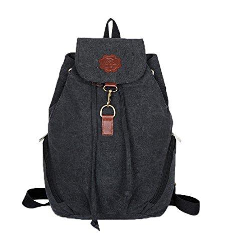 (Top Shop Womens Canvas Bucket Backpack Travel Daypack Handbags School Bags Shoulder Black Satchels)