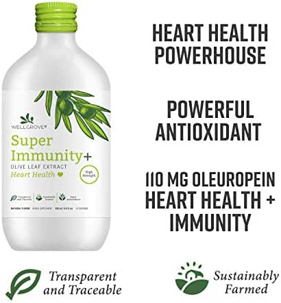 WellGrove Super Immunity Olive Leaf Extract with Heart Health | All Natural Vegan Antioxidant Dietary Supplement | Promotes Immunity | (Natural 500mL)