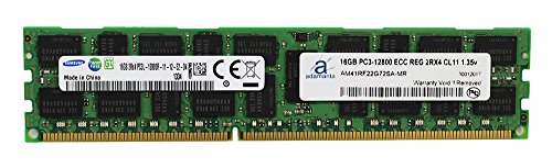 Adamanta 16GB (1x16GB) Server Memory Upgrade for Dell Poweredge & Precision Servers Samsung Original DDR3L 1600Mhz PC3L-12800 ECC Registered 2Rx4 CL11 1.35v DRAM RAM
