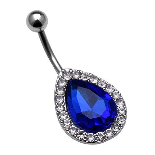 JSDDE Anneau Clou de Nombril Pendentif Strass Cristal Bleu Ventre de Bouton Acier Inxoydable Bijoux de Corps Forme Goutte d'Eau