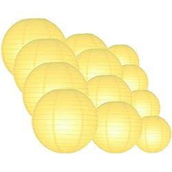 Quasimoon EVP-LY-CP12 12pcs Pack (12/10/8 Inch) Paper Lanterns Even Ribbing, Lemon Yellow Chiffon, 12 Piece Set