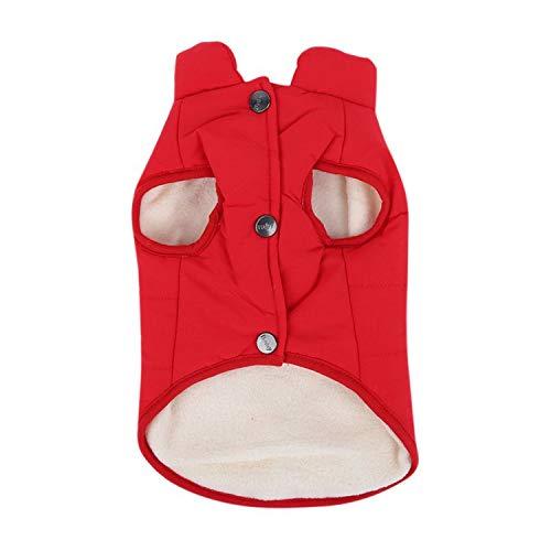 shine-hearty Cotton Winter Dog Vest Dogs Clothes Pet Coat Jacket Pet Costume Poodle Pug,Red,L ()