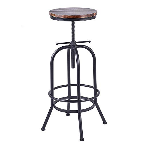 BOKKOLIK Industrial Bar Stool-Retro 28-34inch Swivel Stools-Extra Tall Kitchen Chair-Bar Counter Height Adjustable-Fully Welded (Black)