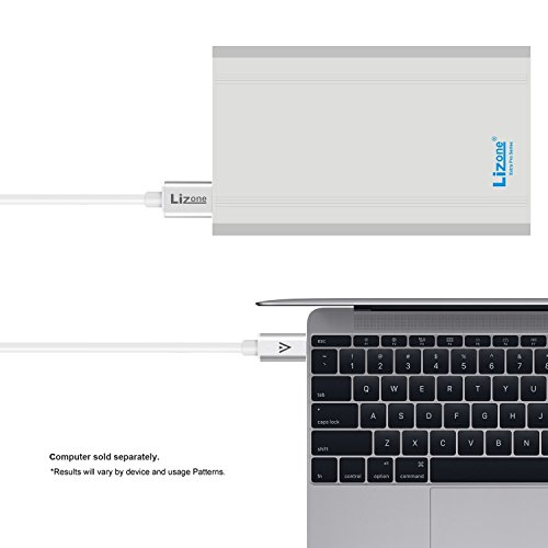 Lizone 50000mAh Extra Pro External Battery for Apple MacBook MacBook Pro MacBook Air USB QC Charger for Apple New MacBook 12 iPad iPhone 7 7 plus SE 6 6S Plus 5S 5C 5 4 Samsung HTC and more -Silver by Lizone (Image #4)