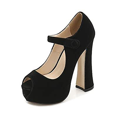 OCHENTA Women's Peep Toe Hidden Platform Ankle Strap Chunky Heel Pumps Black Size: 5.5 US