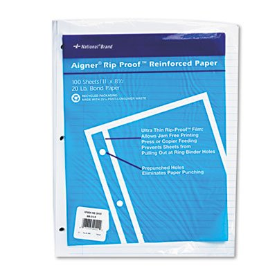Rip Proof Reinforced Filler Paper, Ruled, 20 lb, Letter, White, 100 Sheets/PK, Sold as 2 Package