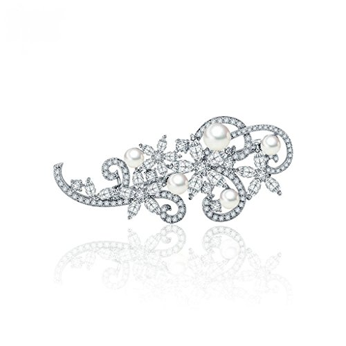 Beydodo White Gold Plated Brooch Pin For Women Floral Corsage Bouquet Pearl White AAA Cubic
