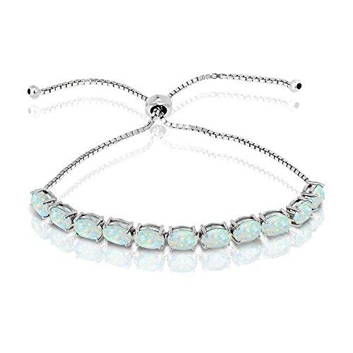 Oval Opal Bracelets (GemStar USA Sterling Silver Simulated White Opal 7x5mm Oval-Cut Adjustable Tennis Bracelet)
