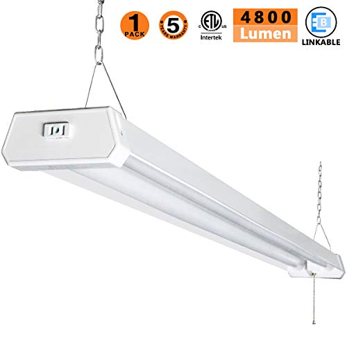 LED Shop Light for garages,4FT 4800LM,42W 5000K Daylight White,LED Ceiling Light, LED Wrapround Light, with Pull Chain (ON/Off),Linear Worklight Fixture with Plug, cETLus Listed 1PACK - Light Fluorescent White Ceiling