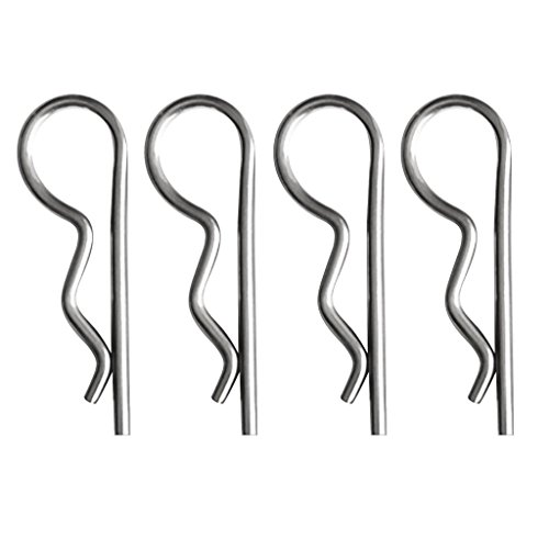 4pcs Stainless Steel R Clips Retaining Spring Hitch Cotter Pin 4mm x 80mm - Silver