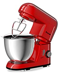 Costway Tilt-head Stand Mixer 4.3Qt 6-Speed 120V/550W Electric Food Mixer w/Stainless Steel Bowl (Red)