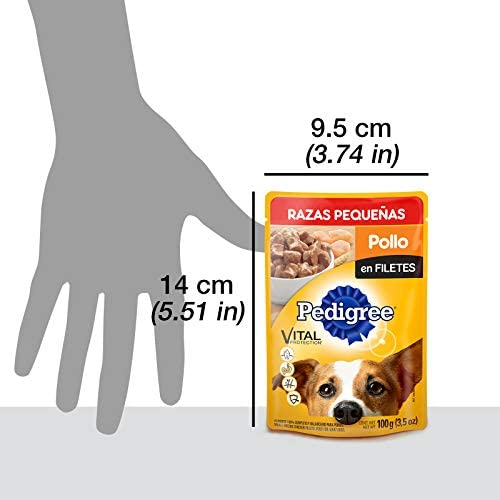 PEDIGREE alimento húmedo para Perros Adultos de Razas Pequeñas. Sabor: Pollo en Filetes. Contiene 10 Sobres 6