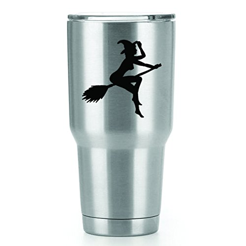 [Sexy Witch Vinyl Decals Stickers ( 2 Pack!!! ) | Yeti Tumbler Cup Ozark Trail RTIC Orca | Decals Only! Cup not Included! | 2 - 3 X 3 inch Black Decals | KCD1242] (Witches Of East End Halloween Costumes)