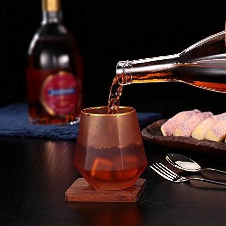 Copas de whisky mate, elegantes copas de vino hexagonales chapadas con borde dorado, vasos de cóctel para bourbon, whisky escocés, cócteles, coñac 2 piezas, morado, 10 oz