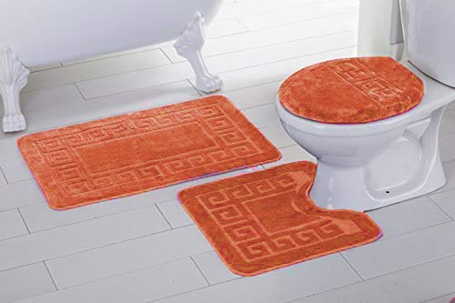 3pc Chain Pattern Solid Orange Non Slip Bath Rug Set for Bathroom U-Shaped Contour Rug, Mat and Toilet Lid Cover New ()