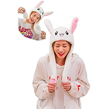 Mimgo-Shop Funny Plush Bunny Hat Ear Moving Jumping Rabbit Hat Cute Animal  Ear Flap Hat with Paws for Women Girls b500ea0d39ef