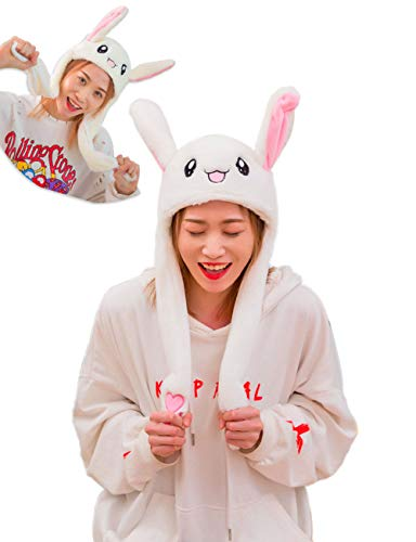 sh Bunny Hat Ear Moving/Jumping Rabbit Hat Cute Animal Ear Flap Hat with Paws for Women Girls ()