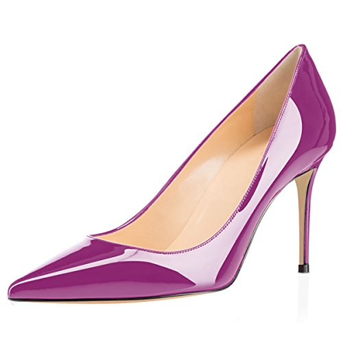 Eldof Womens Comfort Office Pumps High Heel Dress Pumps For Wedding Patry/8cm Purple SGlRPoeh