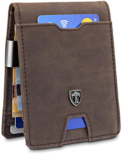 """TRAVANDO Slim Wallet """"TORINO"""" – Thin Bifold Card Wallet – With Coin Compartment - 8 Card Slots - RFID Blocking - Perfect Gift for Men - with Gift Box - Designed in Germany (Brown) ()"""