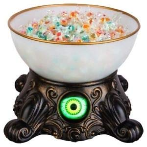 10 Inch Animated Light Up Eyeball Candy Bowl - Halloween Sounds and Phrases