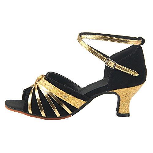 Zapatos Latino Mujer Estándar de Negro Baile Toe XFentech Tacón Gamuza de Peep Alto FfRI8pwq