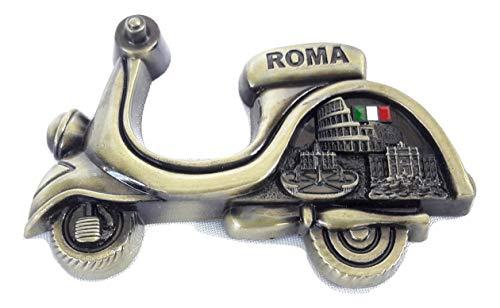 Fridge metal Magnet Italy Rome Vatican/Colosseum/trevi Fountain.Scooter Design ()