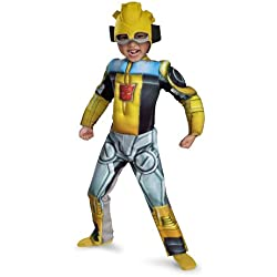 Disguise Bumblebee Rescue Bot Toddler Muscle Costume, Yellow/Silver/Blue, Large