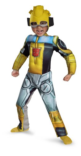 Bumblebee Rescue Bot Toddler Muscle Costume, Yellow/Silver/Blue, Large