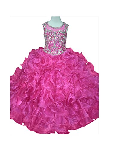 GreenBloom Girls' Layered Ruche Transparent Crystals Pageant Formal Ball Gown Prom Dress Hot Pink 10