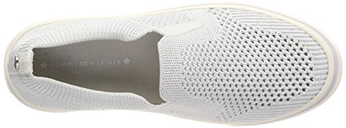 Slip Sneakers Tommy on 100 Light Weight Femme Basses Hilfiger Knitted White Blanc qYxwHxI6