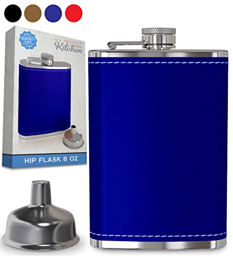 8oz Blue Stainless Steel Alcohol Drink Liquor Whisky Hip Flasks - 1