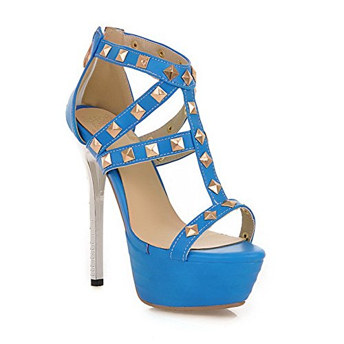 nbsp;Womens Rivet sandalias material 1to9 Solid suave Azul Studded Z7Fzdnz
