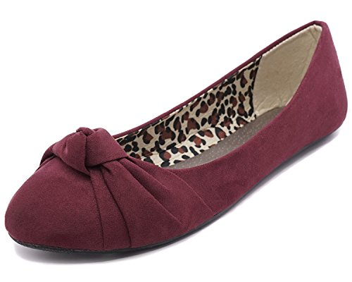 Charles Albert Women's Knotted Front Canvas Round Toe Ballet Flats (7, Burgundy -