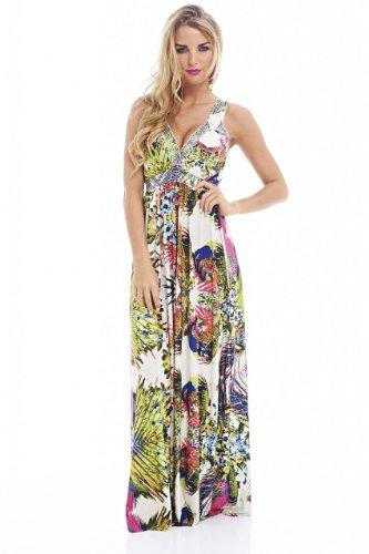 AX Paris Women's Tropical Printed Elasticated Strap Dress(Multicoloured, Size:8)