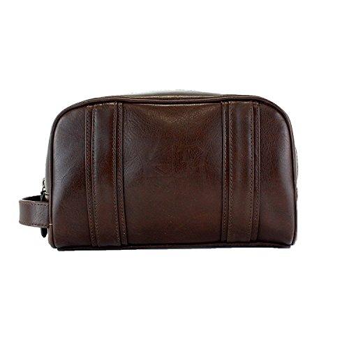 Italian Veg Tan Leather Toiletry Bag Dopp Kit, Internal Zip Pocket, British Belt Co. Lanlay Collection