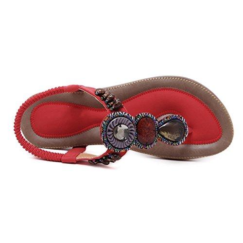 YORWOR Women's Summer Bohemia Beach Beaded Clip Toe Sandals Red NI7A8O2